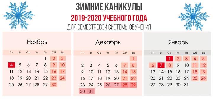 Vacances d'hiver 2019-2020 année scolaire