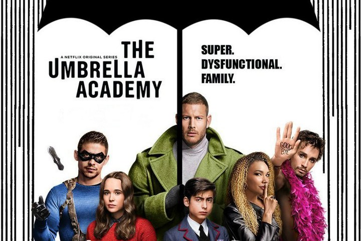 affiche pour la série Umbrella Academy